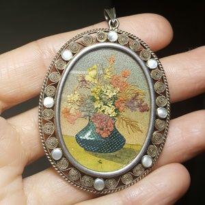 Dried Flower Pendant Fantastic Art Gilt Filigree .